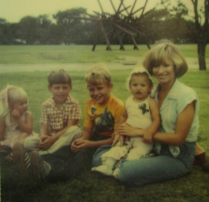 Artist Cathie Cordova Oldham with her children Lee, Neil, James, and Jennifer, 1977 (right to left)