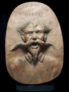 """The Mad Potter of Biloxi"" George E. Ohr figurative sculpture by Cathie Cordova Oldham"